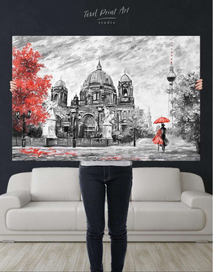 Black and White Berlin Romantic Canvas Wall Art - Image 2