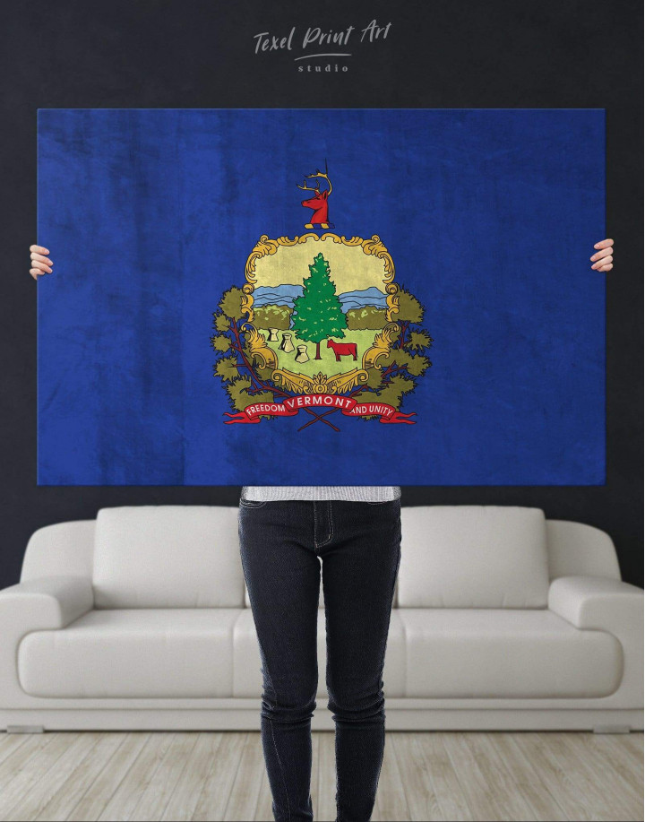 Vermont Flag Canvas Wall Art - Image 4