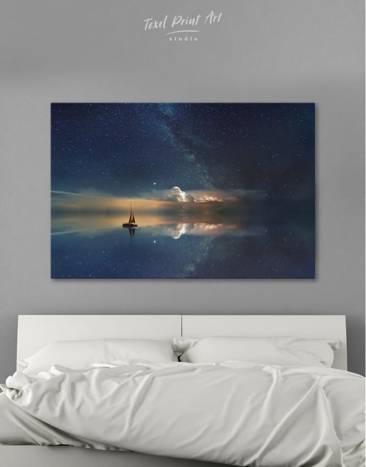 Night Sky Ocean and Stars Canvas Wall Art