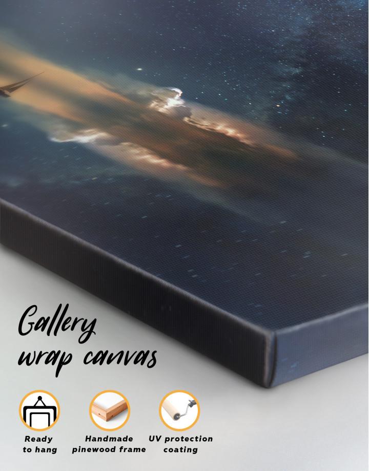 Night Sky Ocean and Stars Canvas Wall Art - Image 5