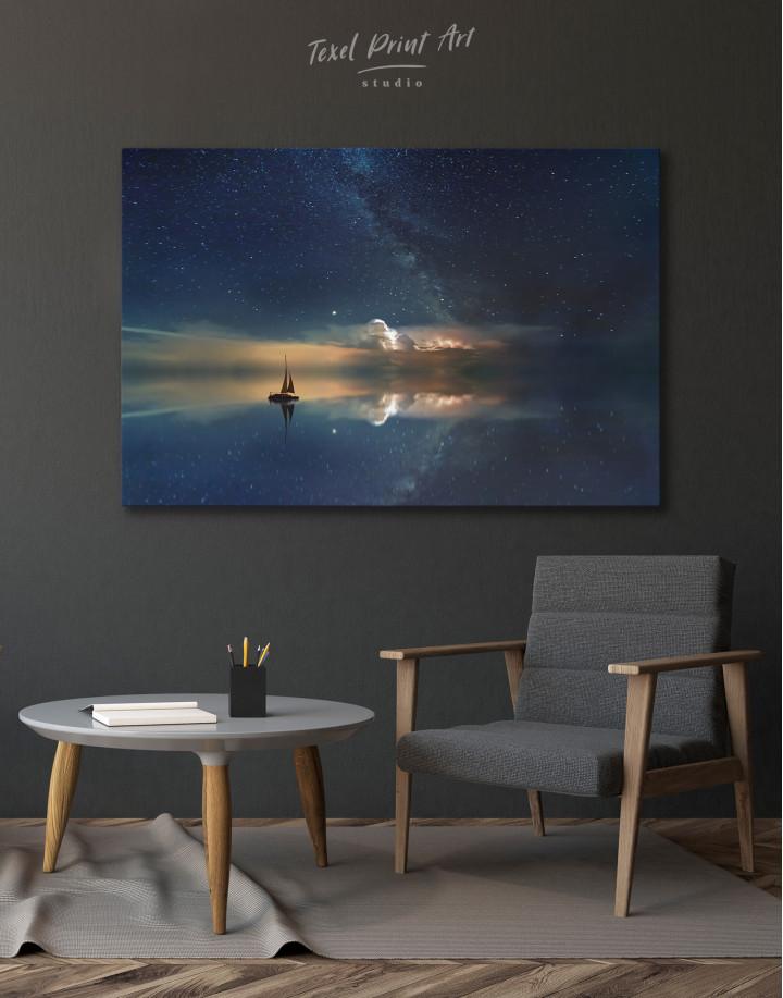 Night Sky Ocean and Stars Canvas Wall Art - Image 8