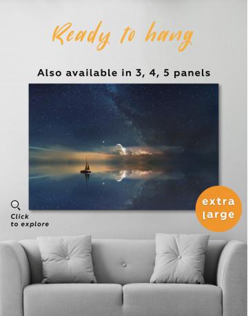 Night Sky Ocean and Stars Canvas Wall Art - image 3
