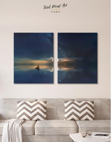 Night Sky Ocean and Stars Canvas Wall Art - image 1