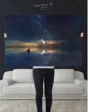 Night Sky Ocean and Stars Canvas Wall Art - Image 4