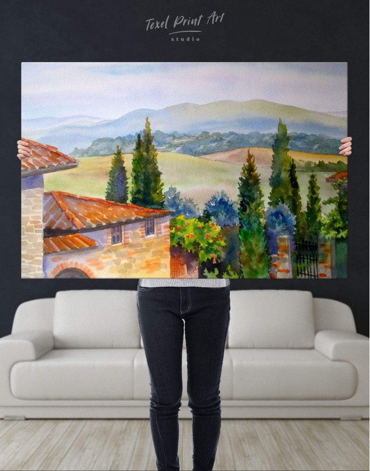 Tuscan Landscape Painting Canvas Wall Art - Image 2