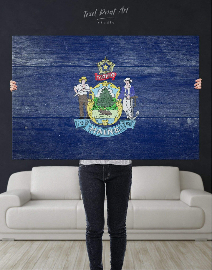 Flag of Maine Patriotic Canvas Wall Art - Image 4