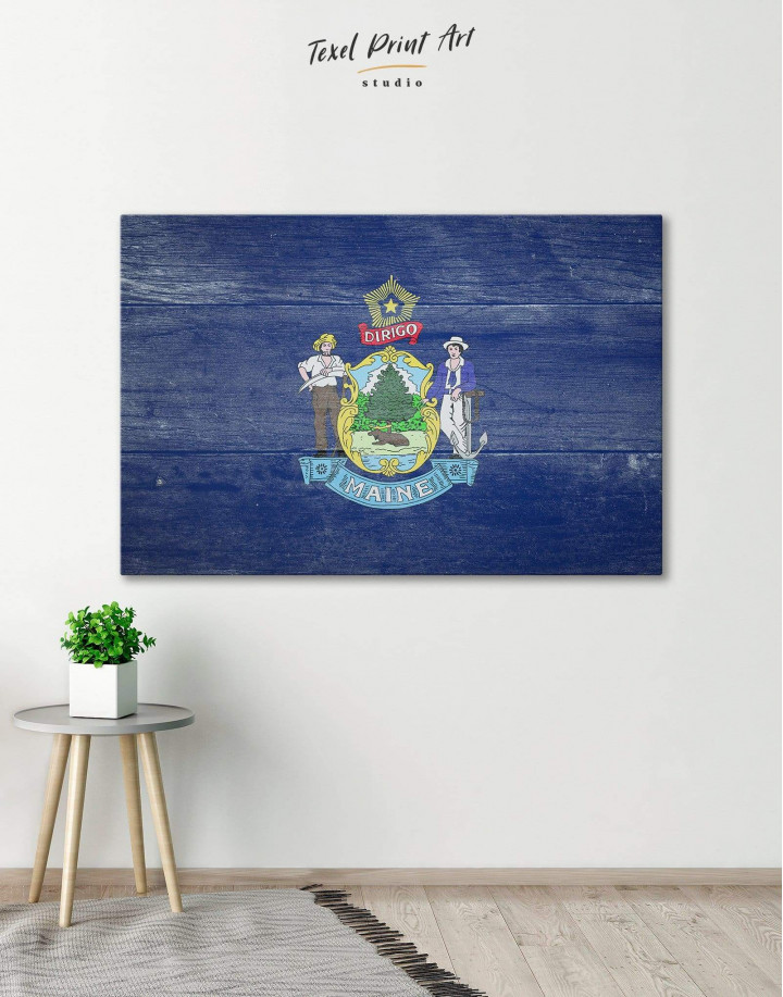 Flag of Maine Patriotic Canvas Wall Art - Image 0