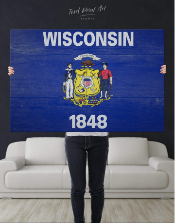 Flag Of Wisconsin Canvas Wall Art - image 4