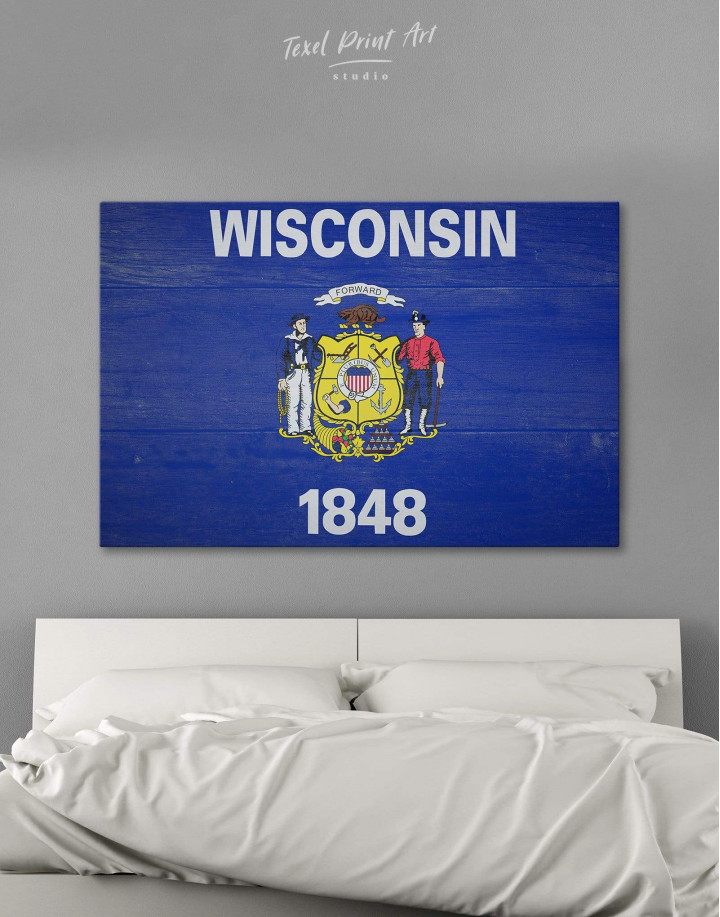Flag Of Wisconsin Canvas Wall Art - Image 0