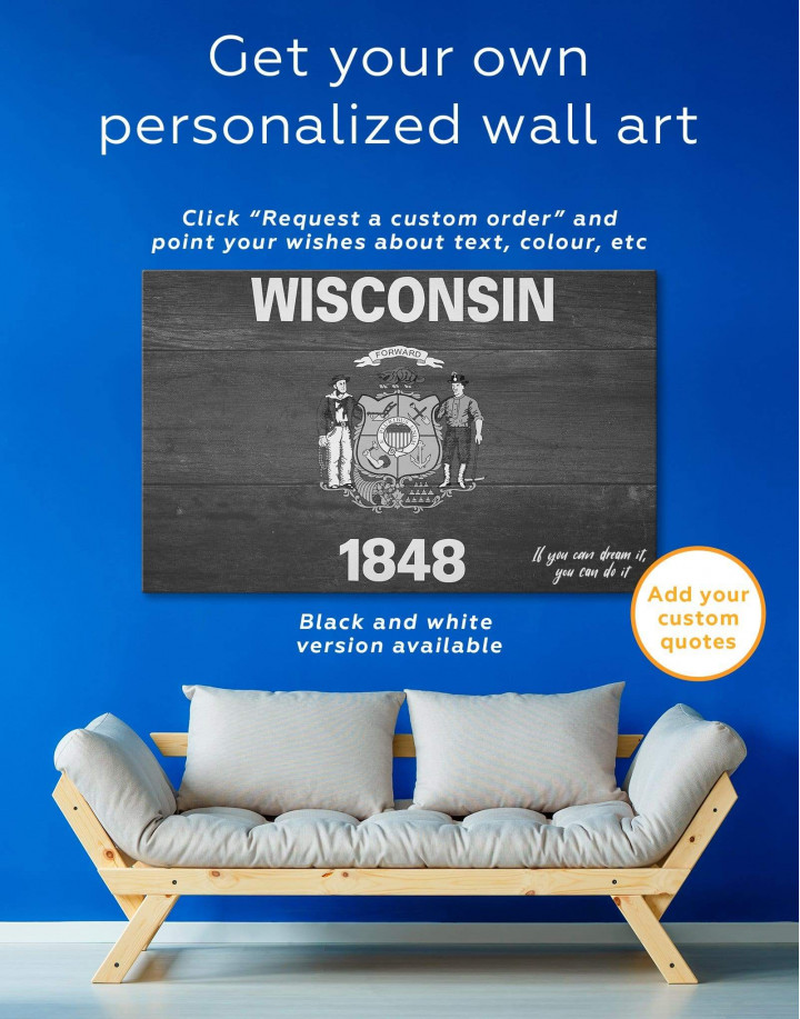 Flag Of Wisconsin Canvas Wall Art - Image 1