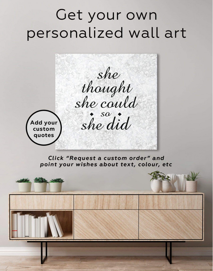 She Thought She Could So She Did Canvas Wall Art - Image 1