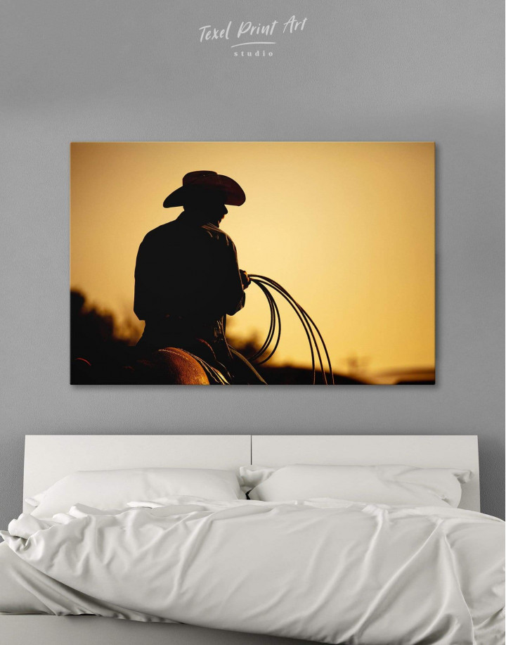 Cowboy Silhouette Canvas Wall Art - Image 0
