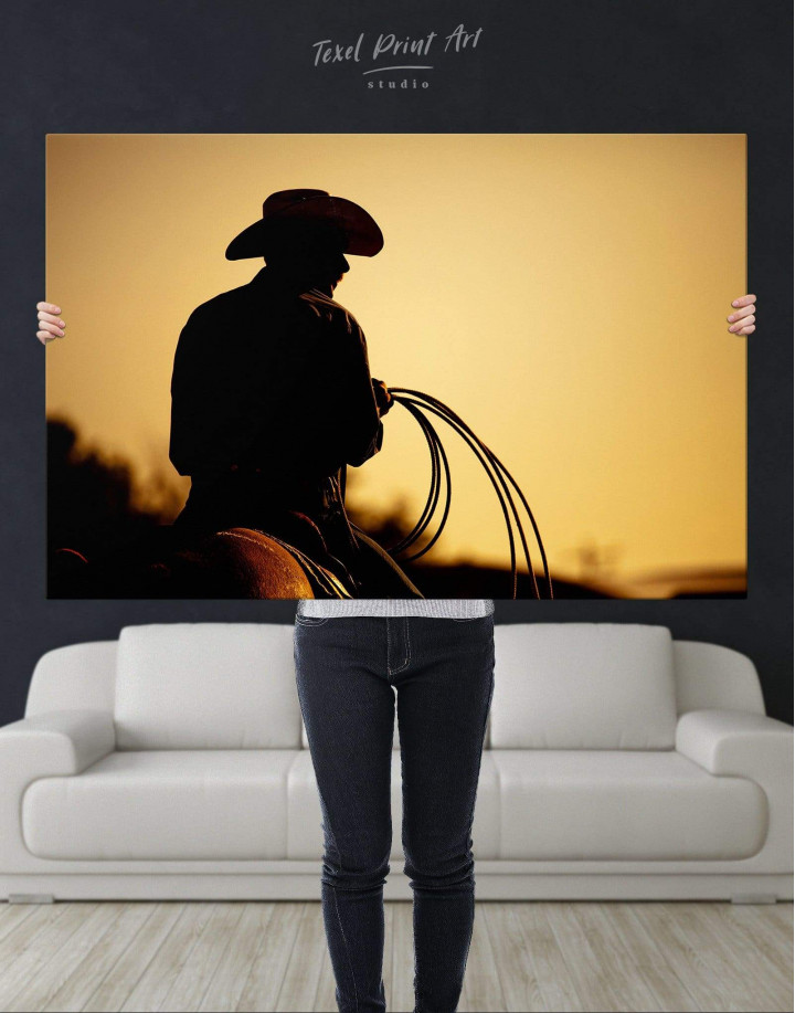 Cowboy Silhouette Canvas Wall Art - Image 4