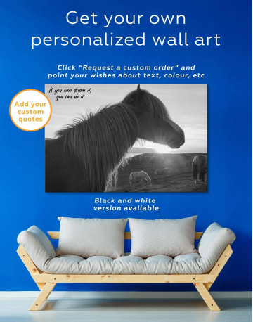 Horse and Sunset Canvas Wall Art - image 1