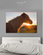 Horse and Sunset Canvas Wall Art