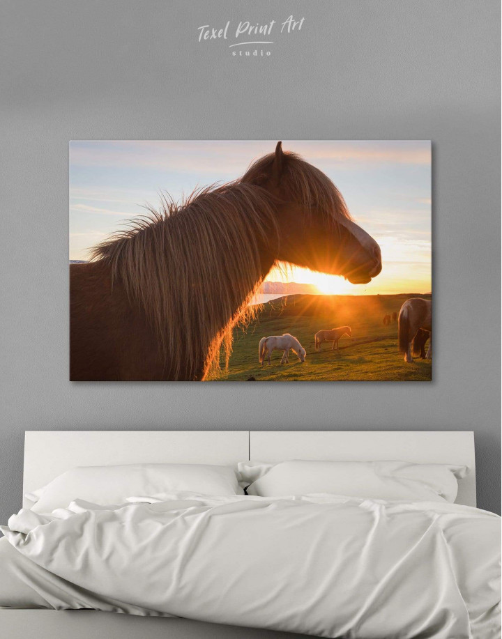 Horse and Sunset Canvas Wall Art - Image 0