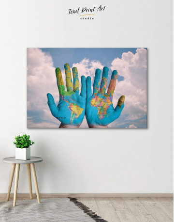 Multicolor Map On Hands Canvas Wall Art