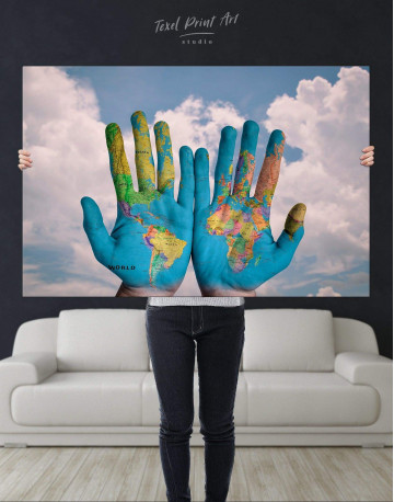 Multicolor Map On Hands Canvas Wall Art - image 4