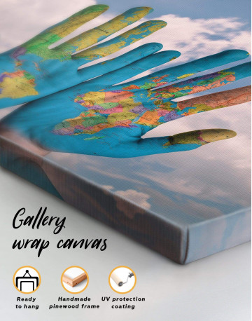 Multicolor Map On Hands Canvas Wall Art - image 5