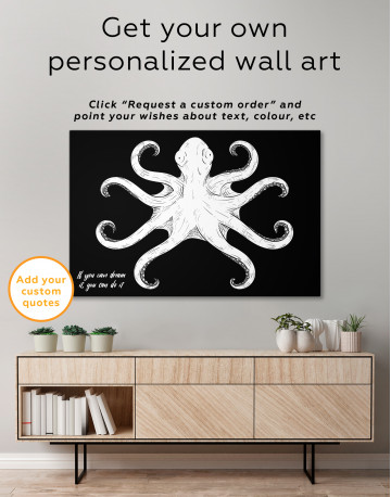 Black and White Octopus Painting Canvas Wall Art - image 3