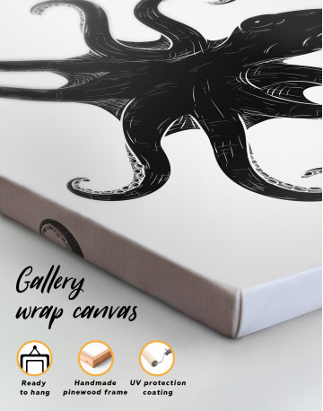 Black and White Octopus Painting Canvas Wall Art - image 4