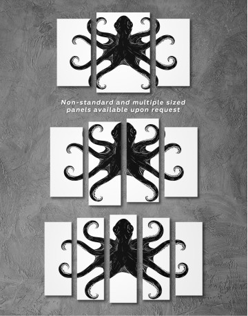 Black and White Octopus Painting Canvas Wall Art - image 5