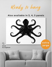 Black and White Octopus Painting Canvas Wall Art - Image 6