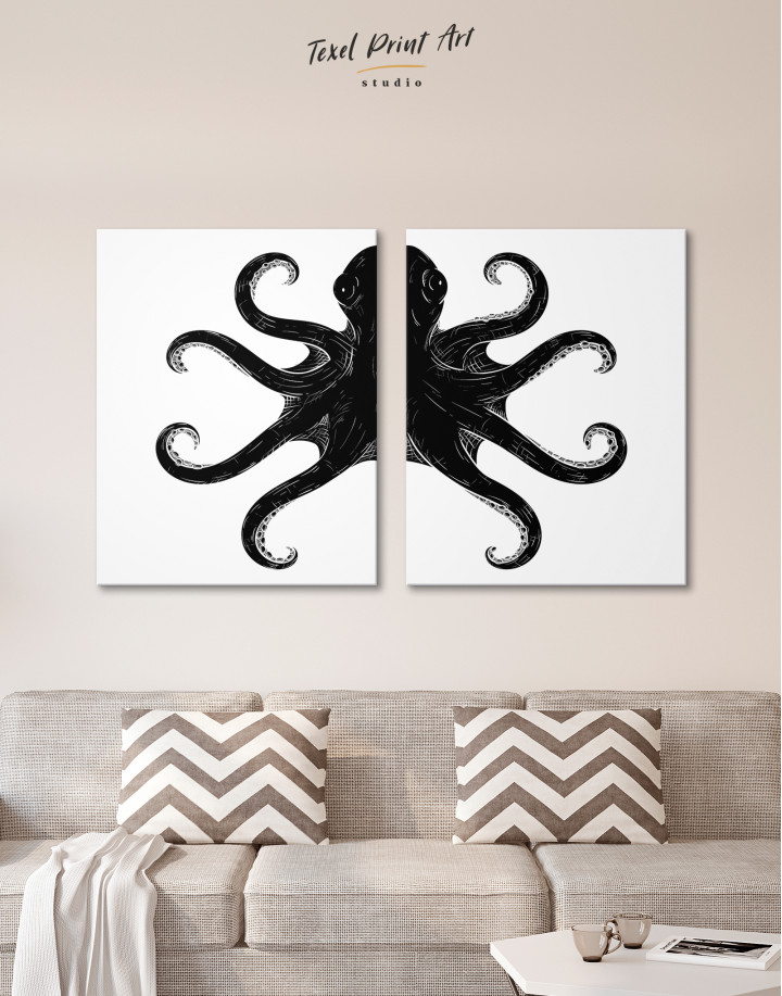 Black and White Octopus Painting Canvas Wall Art - Image 9