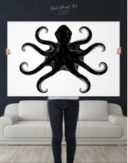 Black and White Octopus Painting Canvas Wall Art - Image 7