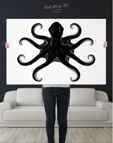 Black and White Octopus Painting Canvas Wall Art - image 1