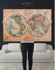 Rustic Hemispheres World Map Canvas Wall Art - Image 4