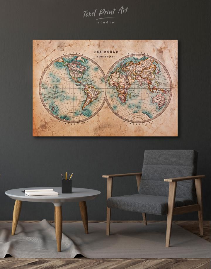 Rustic Hemispheres World Map Canvas Wall Art