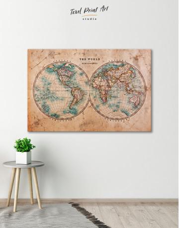 Rustic Hemispheres World Map Canvas Wall Art - image 3