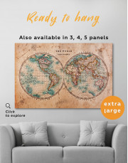 Rustic Hemispheres World Map Canvas Wall Art - Image 1
