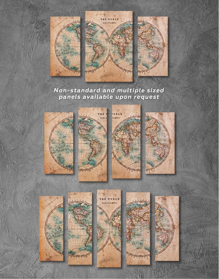 Rustic Hemispheres World Map Canvas Wall Art - Image 5