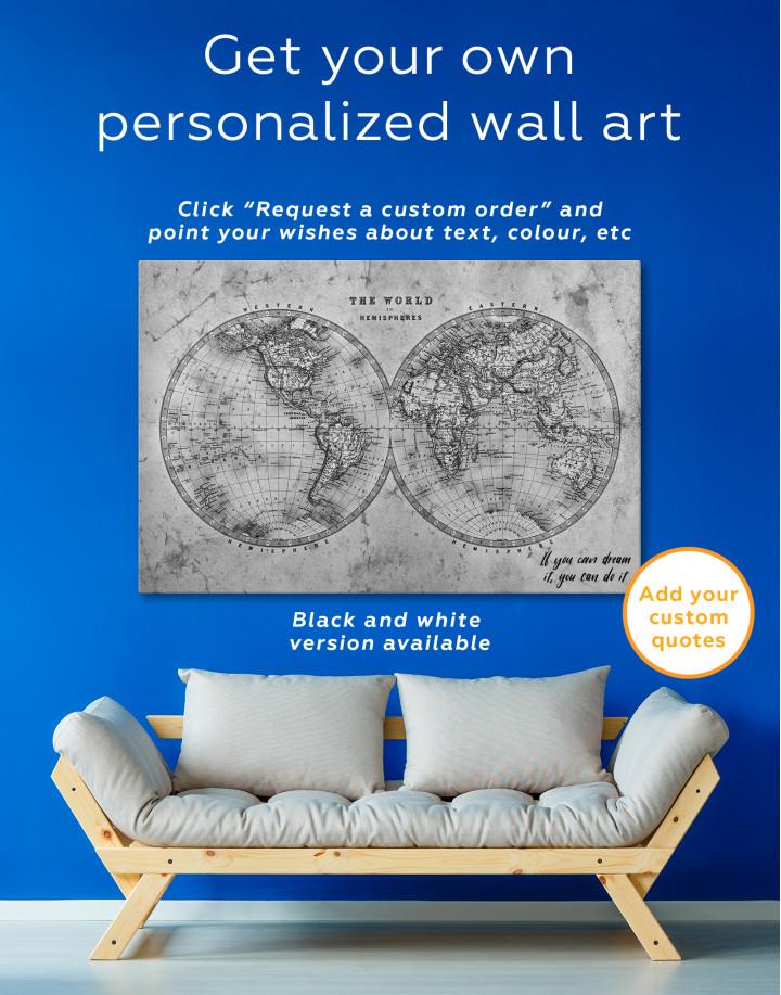 Rustic Hemispheres World Map Canvas Wall Art - Image 2