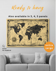 World Old Style Map Canvas Wall Art - Image 2