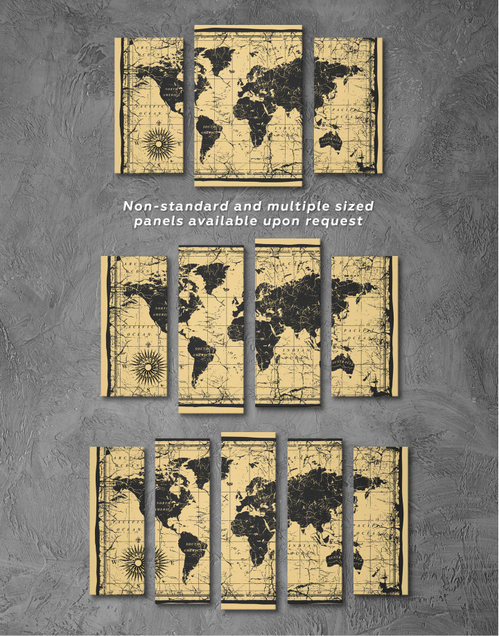 World Old Style Map Canvas Wall Art - Image 1