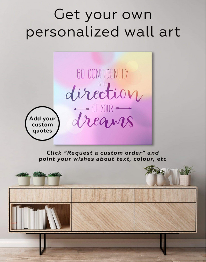 Pink Go Confidently In The Direction Of Your Dreams Canvas Wall Art - Image 1