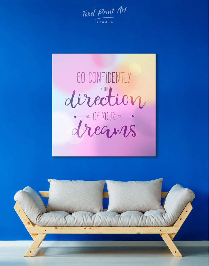 Pink Go Confidently In The Direction Of Your Dreams Canvas Wall Art - Image 3