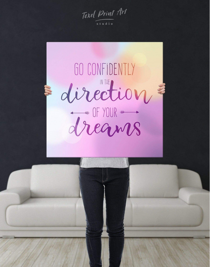 Pink Go Confidently In The Direction Of Your Dreams Canvas Wall Art - Image 2