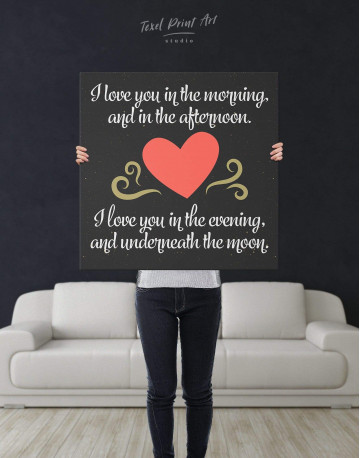 I Love You In the Morning and In the Afternoon with Heart Canvas Wall Art - image 2