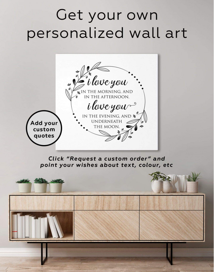 Simple I Love You In the Morning and In the Afternoon Canvas Wall Art - Image 3