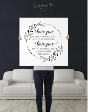 Simple I Love You In the Morning and In the Afternoon Canvas Wall Art - Image 2