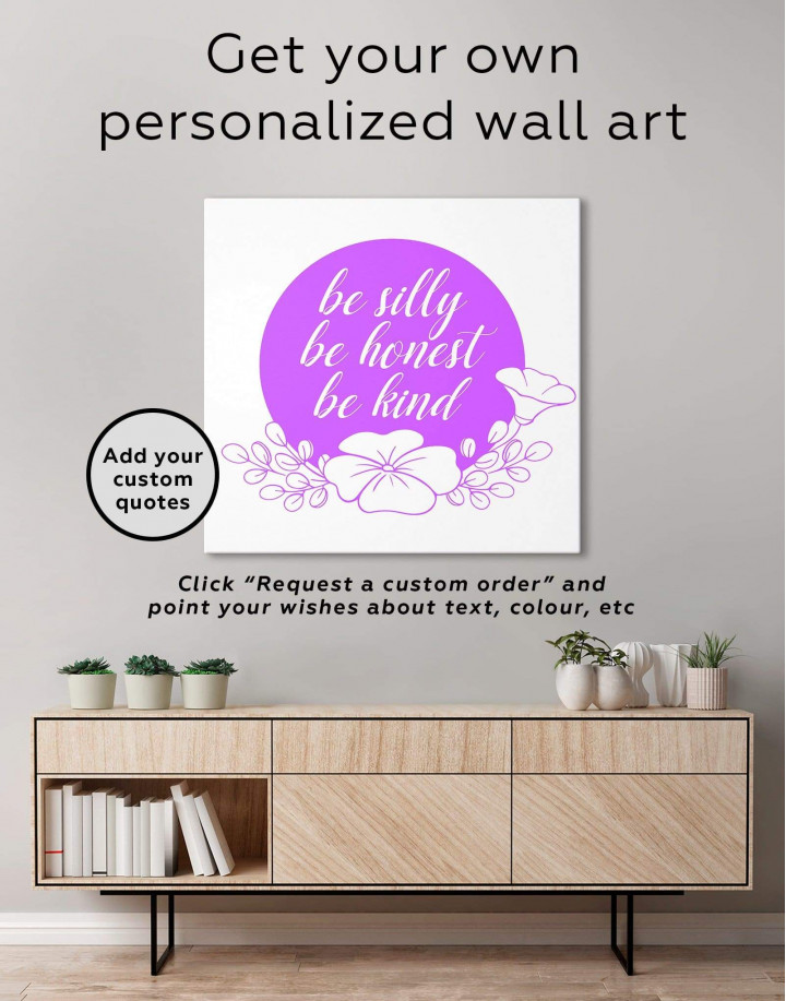 Orange Be Silly Be Honest Be Kind Canvas Wall Art - Image 1