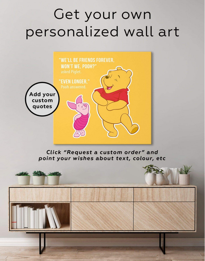 Winnie the Pooh Quote Friendship Citation Canvas Wall Art - Image 1