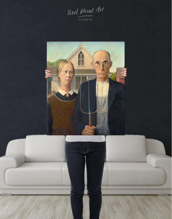 American Gothic by Grant Wood Canvas Wall Art - Image 3