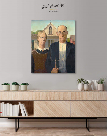 American Gothic by Grant Wood Canvas Wall Art - image 4
