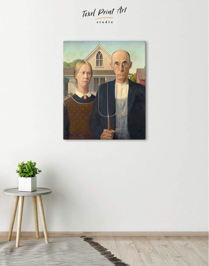American Gothic by Grant Wood Canvas Wall Art - Image 0