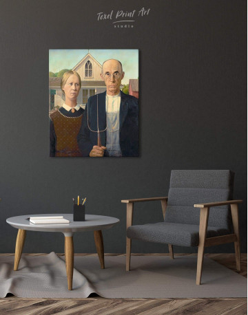 American Gothic by Grant Wood Canvas Wall Art - image 2